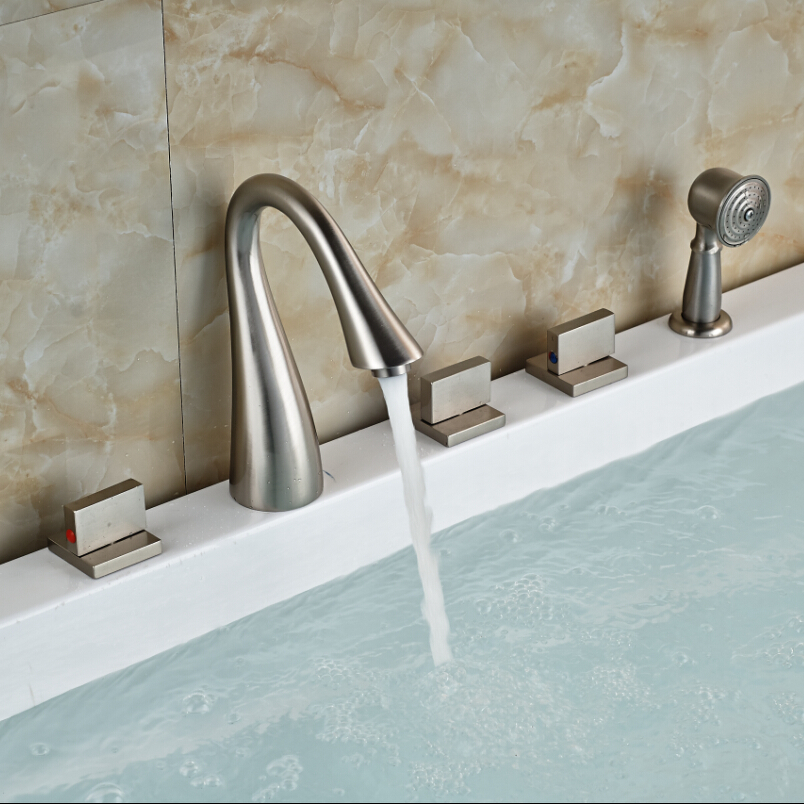 brushed nickel 3 square handles bathtub faucet deck mount tub shower mixer tap with handshower 5