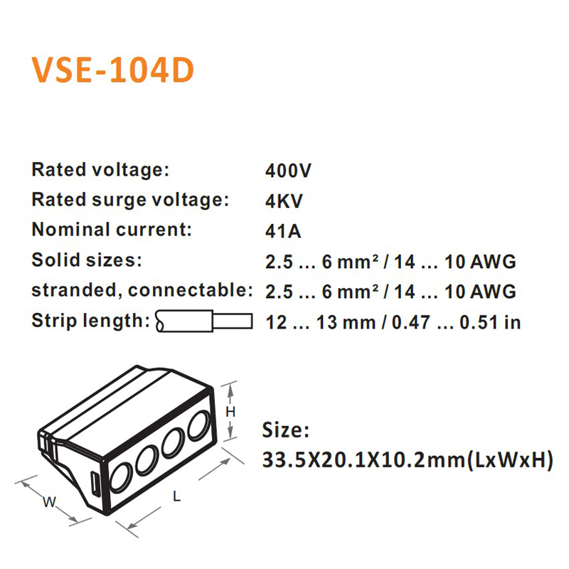 10pcslot vse 104d solid wire connectors 25 6mm2 4p plug type 10pcslot vse 104d solid wire connectors 25 6mm2 4p plug type spring clamping mini connectors compact terminal block in connectors from lights lighting keyboard keysfo Images