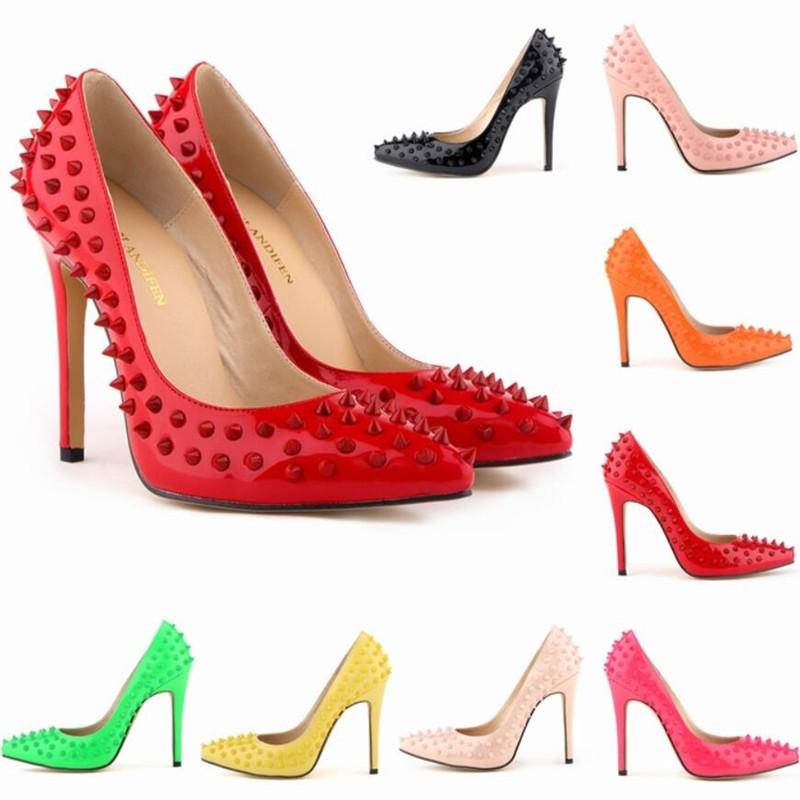 2018 New Fashion high heels Rivet women pumps thin heel classic white red nede beige sexy prom Party shoes2018 New Fashion high heels Rivet women pumps thin heel classic white red nede beige sexy prom Party shoes