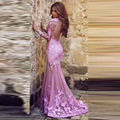 LE-60 Amazing Pink Lace Formal Long Arabic Kaftan Mermaid Evening Dresses Long Sleeve in Dubai Sexy Open Back Robe De Soiree