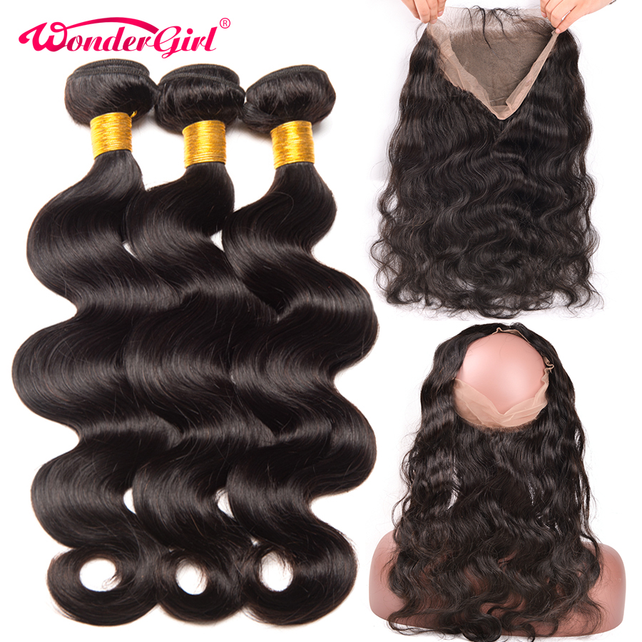 Pre Plucked 360 Lace Frontal With Bundle Peruvian Body Wave 3 Bundles With Frontal Non Remy