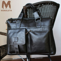 MONOLETH Genuine Leather Briefcase Men Crossbody Shoulder Handbag Men Messenger Bags Male Briefcase Men S Travel