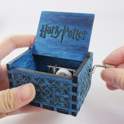 Blue antique carved wooden harry potter music box, Christmas gift, new year gift, birthday gift free shipping