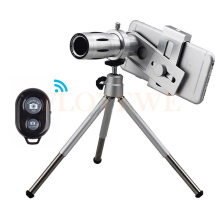 Cheapest prices 2017 HD 12x Optical Zoom Telephoto Lens Telescope With Clip Mobile Tripod Bluetooth remote control Camera Lentes For iPhone 7 8