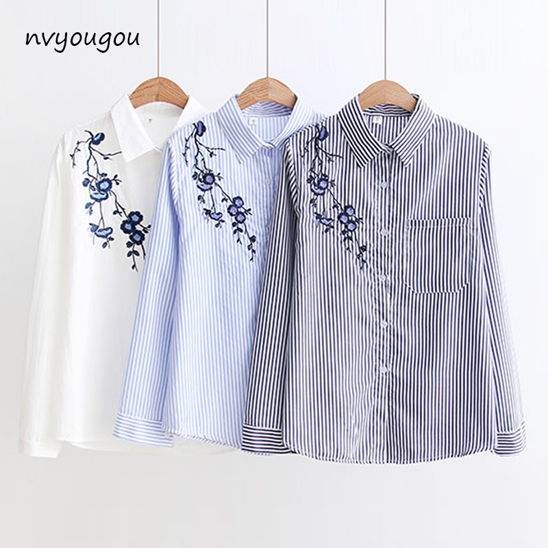 Autumn Floral Embroidery White Long Sleeve Women   Blouses   Blue Striped   Shirt   Cotton Casual Women Tops blusas mujer de moda 2019