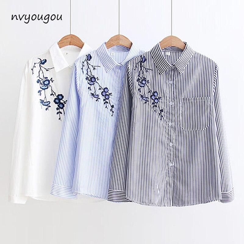 Outono Bordado Floral Branco de Manga Longa Mulheres Blusas Camisa Azul Listrada de Algodão Mulheres Casual Tops blusas mujer de moda 2019