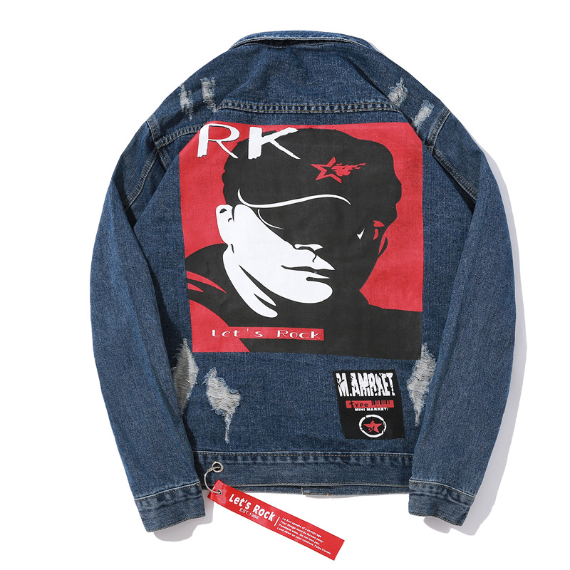 Hip Pop Mens Bomber Denim Jacket Punk Style Jeans Coat Streetwear Character Pattern Jacketc Coats Rock Jeans Overcoat M 2XL