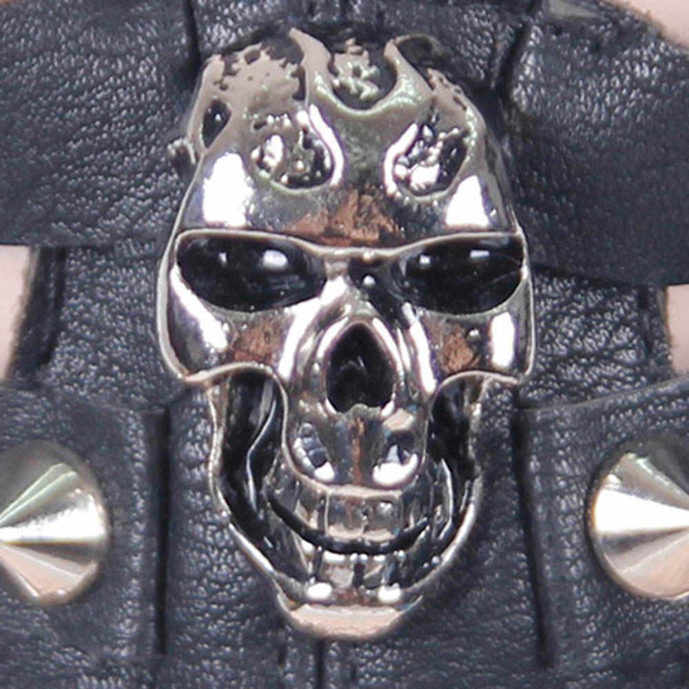 Rosetic подвеска в виде черепа, Готическая панк маска, искусственная кожа, цепь, мотоциклетная рок-маска, костюм на Хэллоуин, маскарад, косплей, вечерние, мото, черная металлическая маска