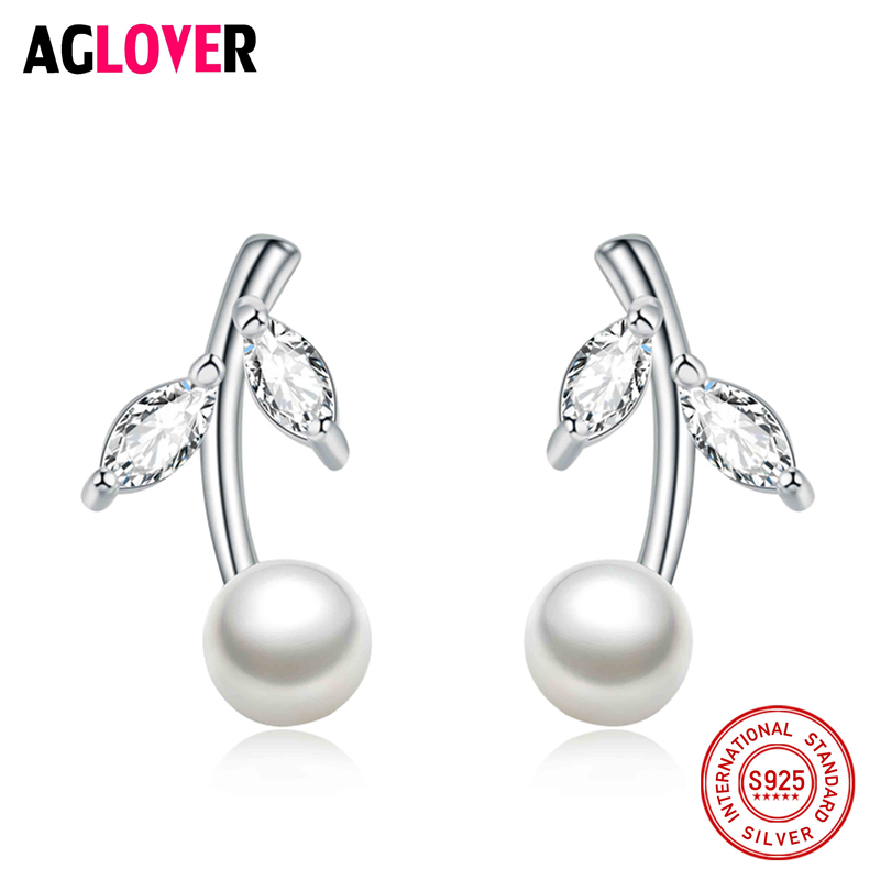 Natural Pearl Earrings Jewelry 925 Sterling Silver Leaf Geometric Bohemia Stud For Women Gift
