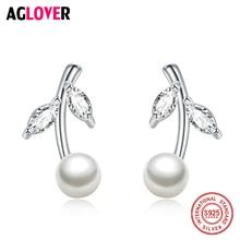 Natural Pearl Earrings Jewelry 925 Sterling Silver Leaf Earrings Geometric Bohemia Stud Earrings For Women Gift