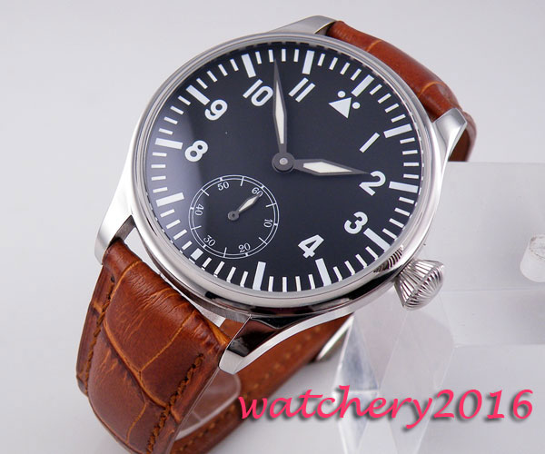 лучшая цена Hot 44mm parnis black dial Luminous Marks Stainless steel Case Luxury leather strap ST 6498 Mechanical Hand winding men's watch