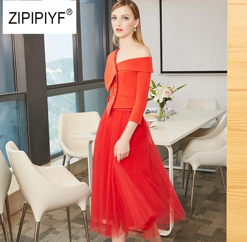 Kadın Giyim'ten Kadın Setleri'de 2018 Yeni Moda 2 Adet En gelinlik geri Etek takım elbise Slash boyun Üç Çeyrek Kollu Blazer & Orta Buzağı örgü etek Takım Elbise C204'da  Grup 1