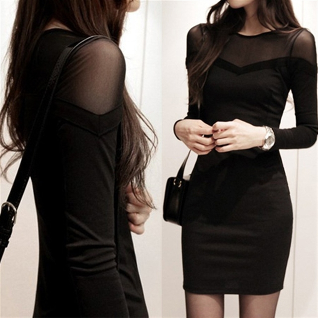 new cheap good slim women s slim hip tight sexy one-piece party night bar  sexy black dress long-sleeve medium-long basic shirt 783881b76cf5