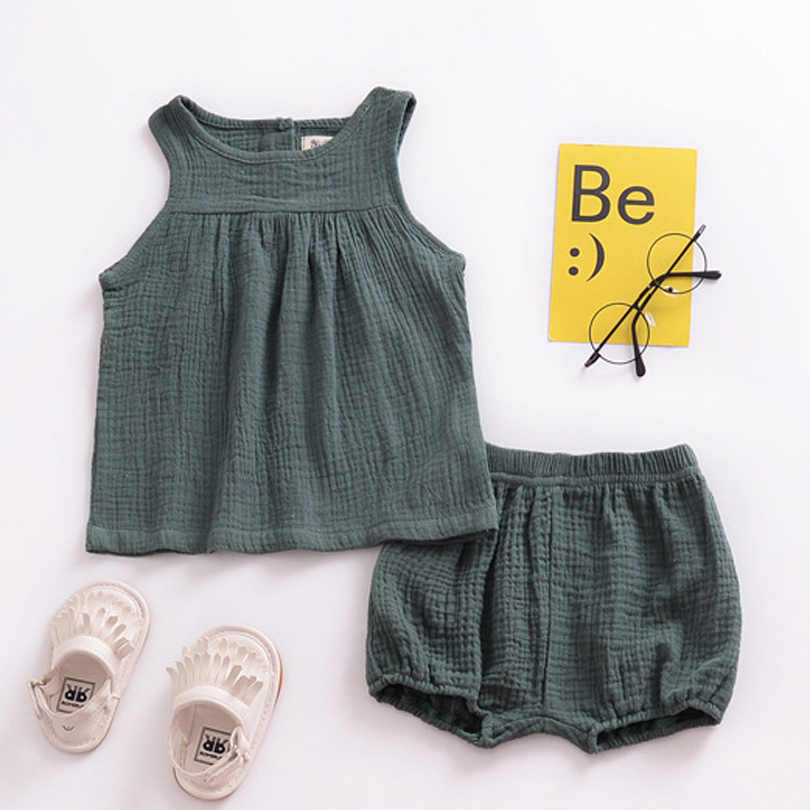 2020 Summer Linen Baby Girls Suits Cotton Kids Outfits Children Clothing Set Newborn Boy Vest Tops + Shorts Toddler Clothes 0-4Y