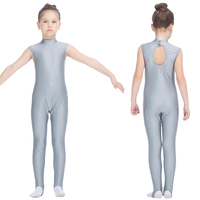Kids Gymnastics Bodysuit Silver Gray Nylon Lycra High Neck Unitards Back Hole Girls Training Dancwear
