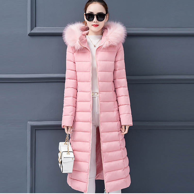Plus Size Winter Jacket Women   Parkas   Hooded Thicken Down Cotton Long Winter Jacket Women Warm Padded Female Winter Coat LM072