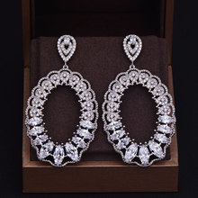 GODKI Brand New Hot Fashion Popular Luxury Water Drop Full Cubic Zirconia Pave Silver Wedding Earring For Women 3.5CM*6.5CM