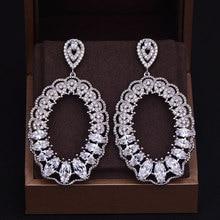 "GODKI מותג חדש חמה אופנה פופולרי טיפת מים יוקרה מעוקב Zirconia מלא פייב כסף עגיל חתונה לנשים 3.5 ס""מ * 6.5 ס""מ"