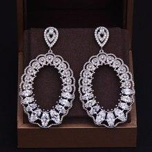 Godki marca nova moda quente popular luxo gota de água completa zircônia cúbica pavimentar prata casamento brinco para mulher 3.5 cm * 6.5 cm
