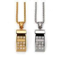 Titanium Sifflet Pendentif Colliers pour Hommes En Acier Inoxydable Bijoux Hiphop Personnalité Tissu Accessoires