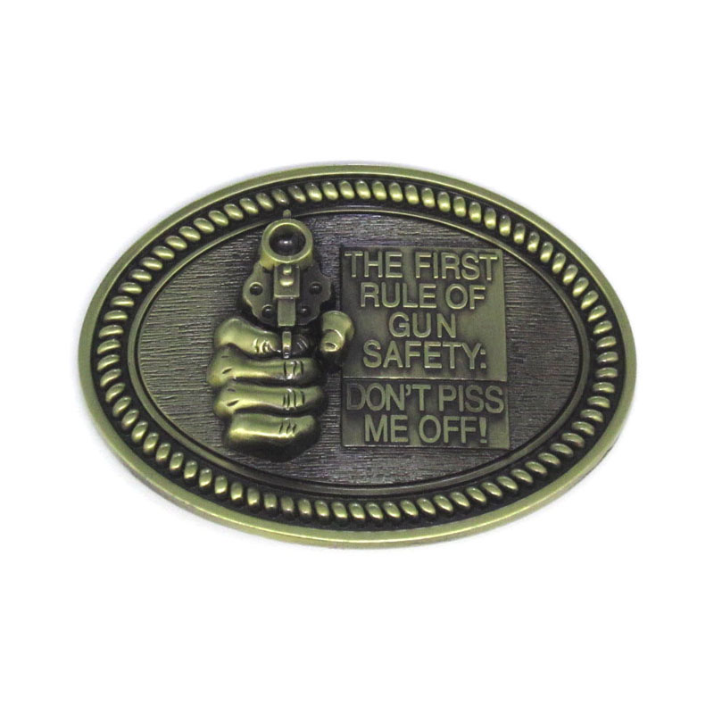 Oval The First Rule Of Gun Safety Don't Piss Me Off Belt Buckle image
