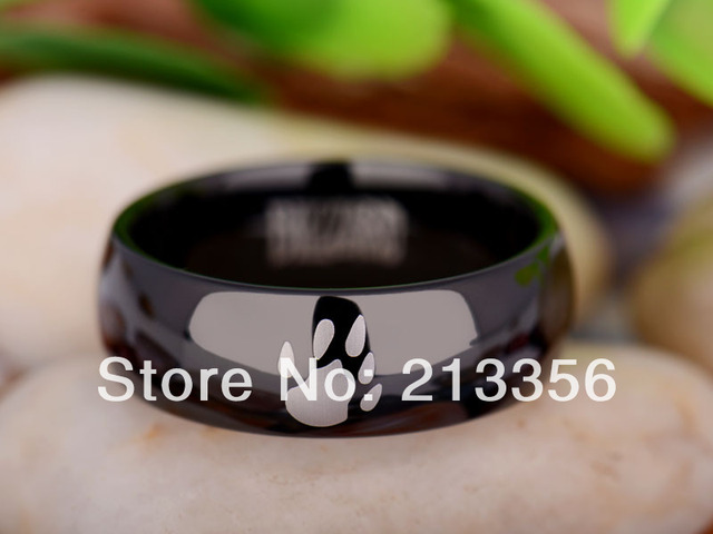 Free Shipping UK Russia Brazil USA Hot Selling 8MM Black Dome World of Warcraft Horde/Druid Men's Tungsten Carbide Wedding Ring