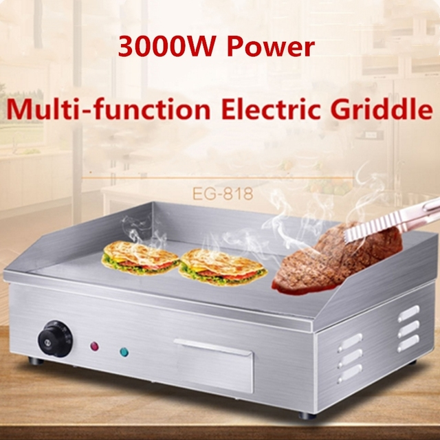 Stainless Steel 3000W Electric Griddle Commercial 8 mm thick Flat Pan Griddle Pancakes Steak Dorayaki Machine BBQ Grill