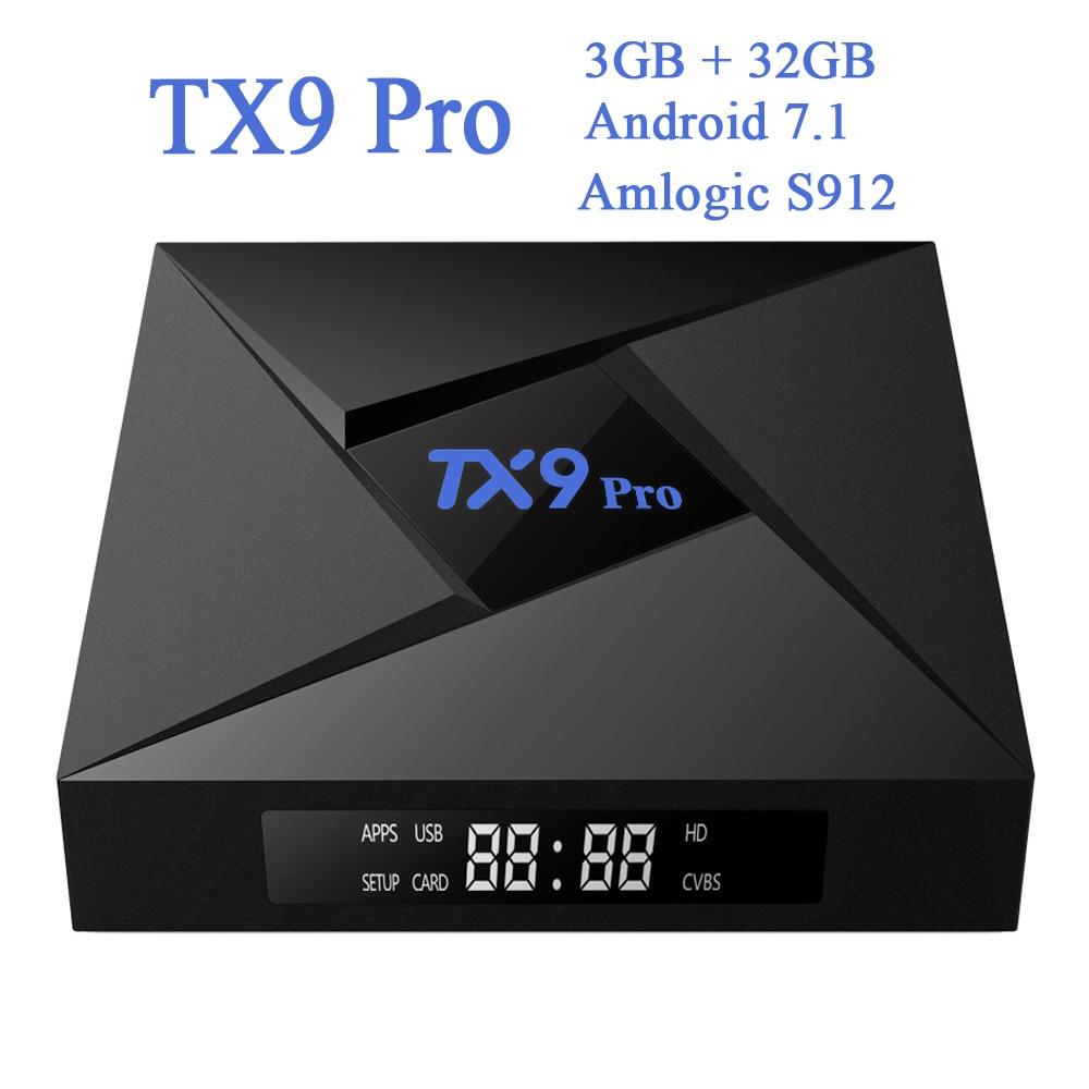 3GB 32GB TX9 Pro Amlogic S912 Octa Core Android 7.1 Smart TV Box 64Bit WiFi 2.4GHz 5.8GHz Bluetooth 4.1 Kodi 4K Set-top Box
