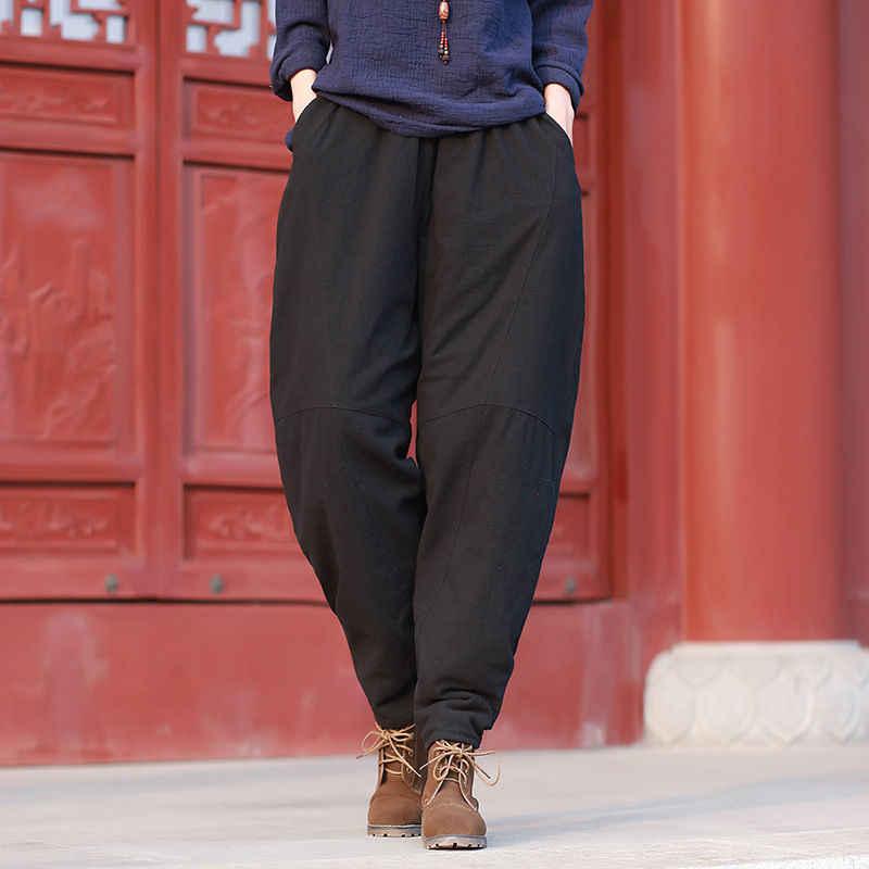 Johnature 2018 Otoño Invierno de las mujeres de gran tamaño pantalones  Original nuevo Casual cintura Color 7a4b9386c0e3