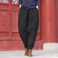 Johnature 2018 Autumn Winter Women Large Size Pants New Original Casual Loose Waist Solid Color Cotton Linen Thick Warm Pants