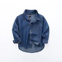 Bebê menino camisa de algodão criança manga longa tops jeans camisa primavera roupas criança denim camisa menino casual blusa dropshipping roupas