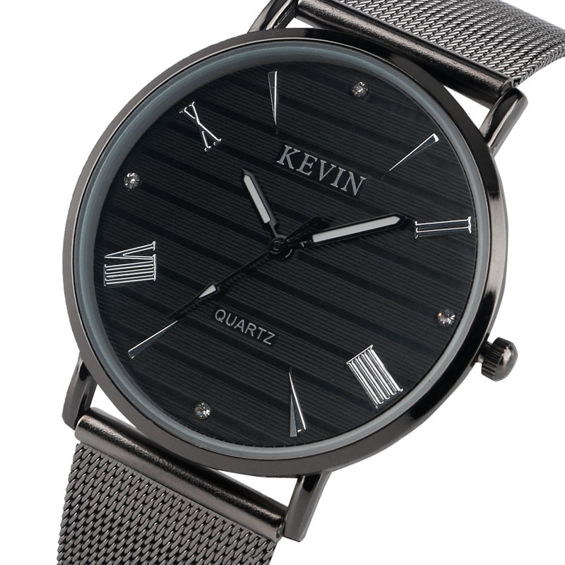 KEVIN Thin Watch Wrist Women Men Casual Vintage Black Quartz Watches Tiny Mesh Strap Trendy Modern Sport Dress Business Clock цена