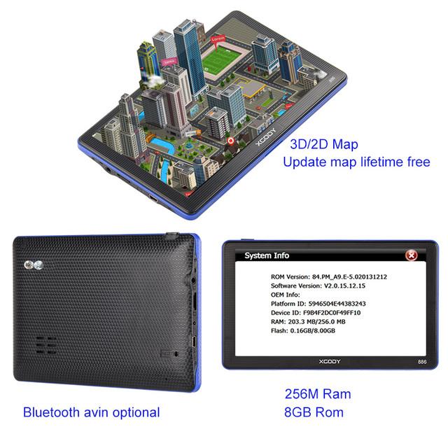 XGODY 7 inch 886 samochód ciężarowy Nawigacja GPS 256M + 8GB pojemnościowy ekran FM Navigator + kamera cofania Rosja US AU 2018 UE darmowa mapa