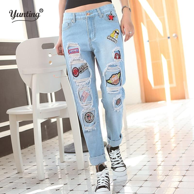 3a190e8a294d Nova moda feminina casual Solta Mulheres Casuais Lápis Calças largas do  vintage rasgado buraco namorado denim Longas calças De brim