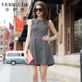 Veri Gude Women Fit and Flare Striped Dress Casual Sleeveless Above Knee