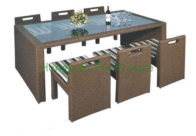 Плетеная мебель для столовой поставщик, Из ротанга обеденный стол и стулья