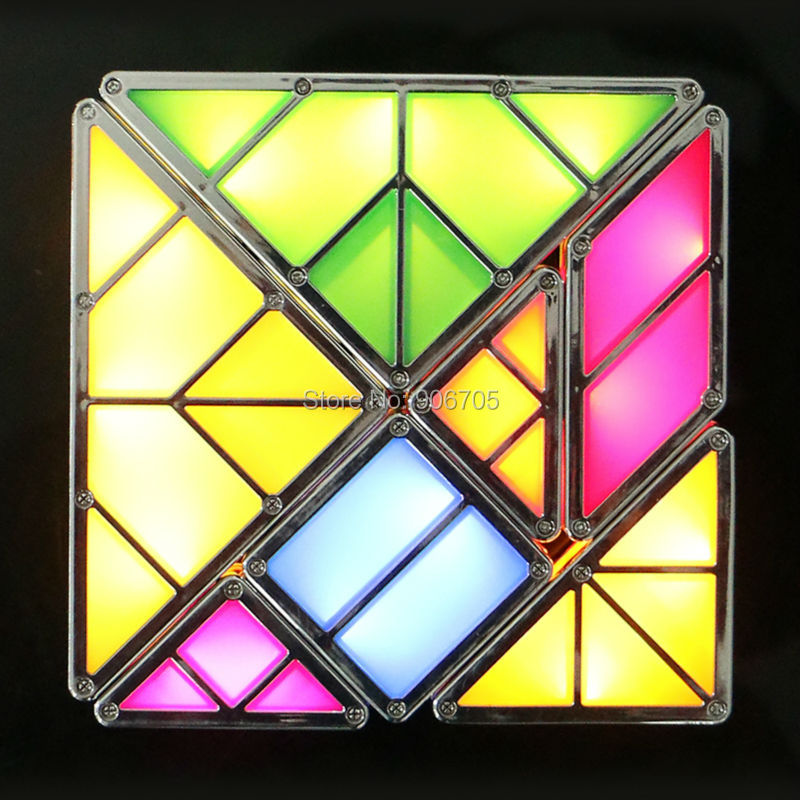 Creative Combination Tangram Magnetic Toys With Light Magnetic Building Blocks Illuminated Blocks Classic Smart Electronic Kit Model Building