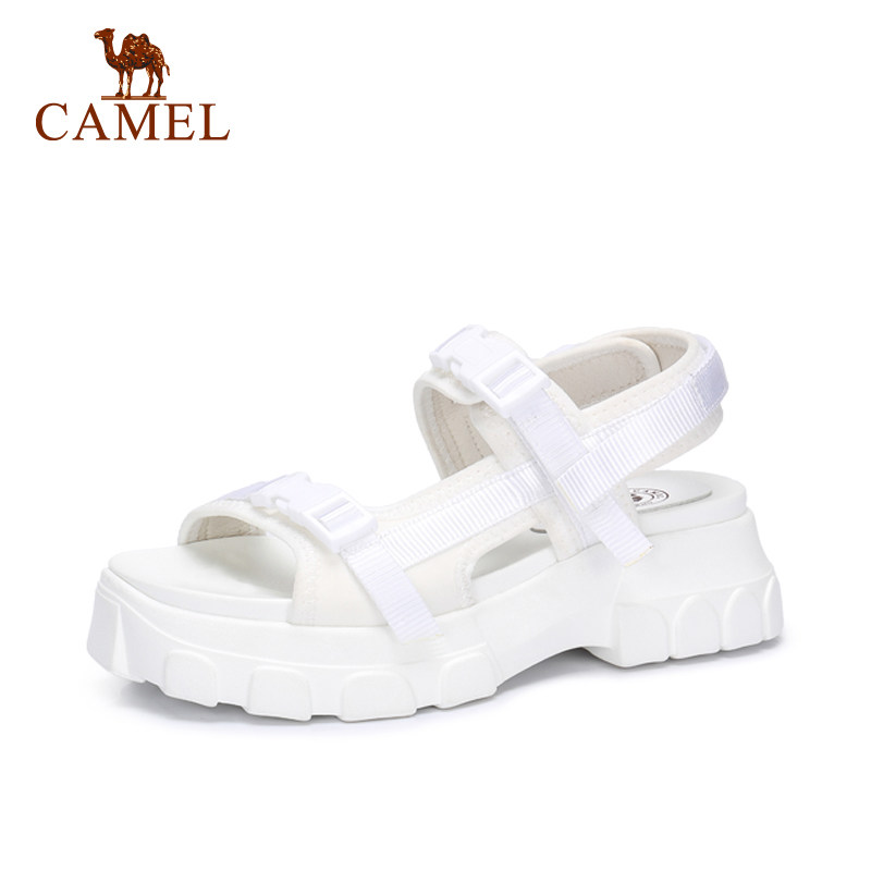 CAMEL Women Fashion Wild Shoes Casual Sandals Platform Flat Buckle Exposed Toe Cushionin Antiskid Sandals Shoes