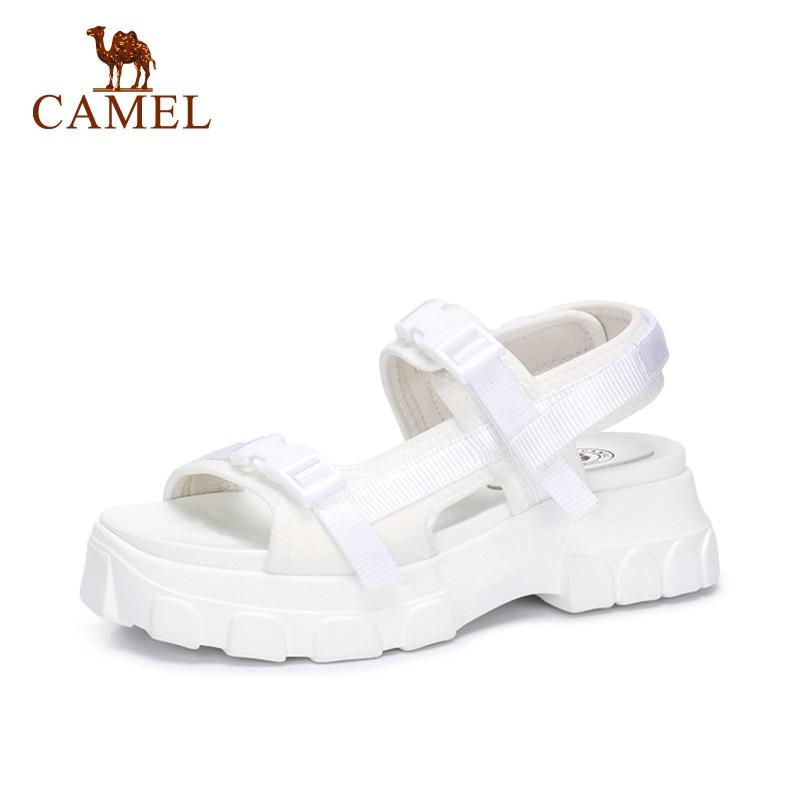 Femmes Mode Sauvage Bout Antidérapant forme Exposés Black De Casual Sandales Plat Cushionin Plate Boucle white Chaussures Chameau 5RL3Ajqc4
