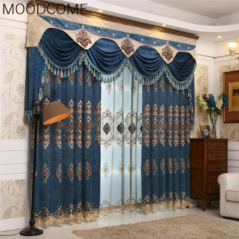 de luxe europenne style chinois chenille broderie feilin rideaux pour salon salle manger chambre
