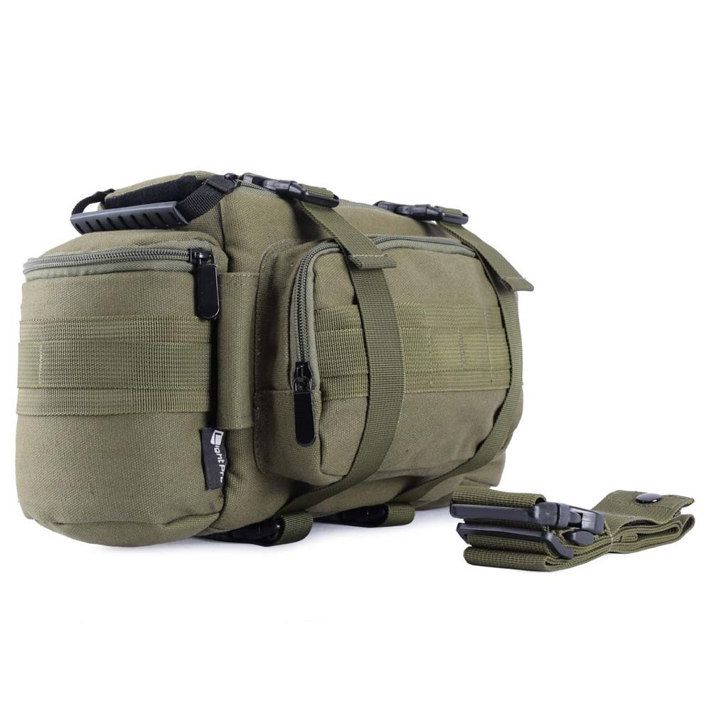 Multifunctional DSLR Canvas Tactical Waist Rucksack Bag Camera Soft Pack Molle Single Shoulder Case w Rain