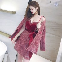 2018 New Autumn Runway Tweed 2 Piece Set Dress Designer Winter Women Red Long Coat Mini