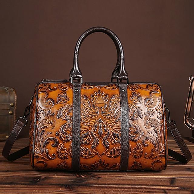 Women Genuine Leather Top Handle Crossbody Bags Embossed Natural Skin Tote Handbag Large Capacity Messenger Shoulder Travel Bag