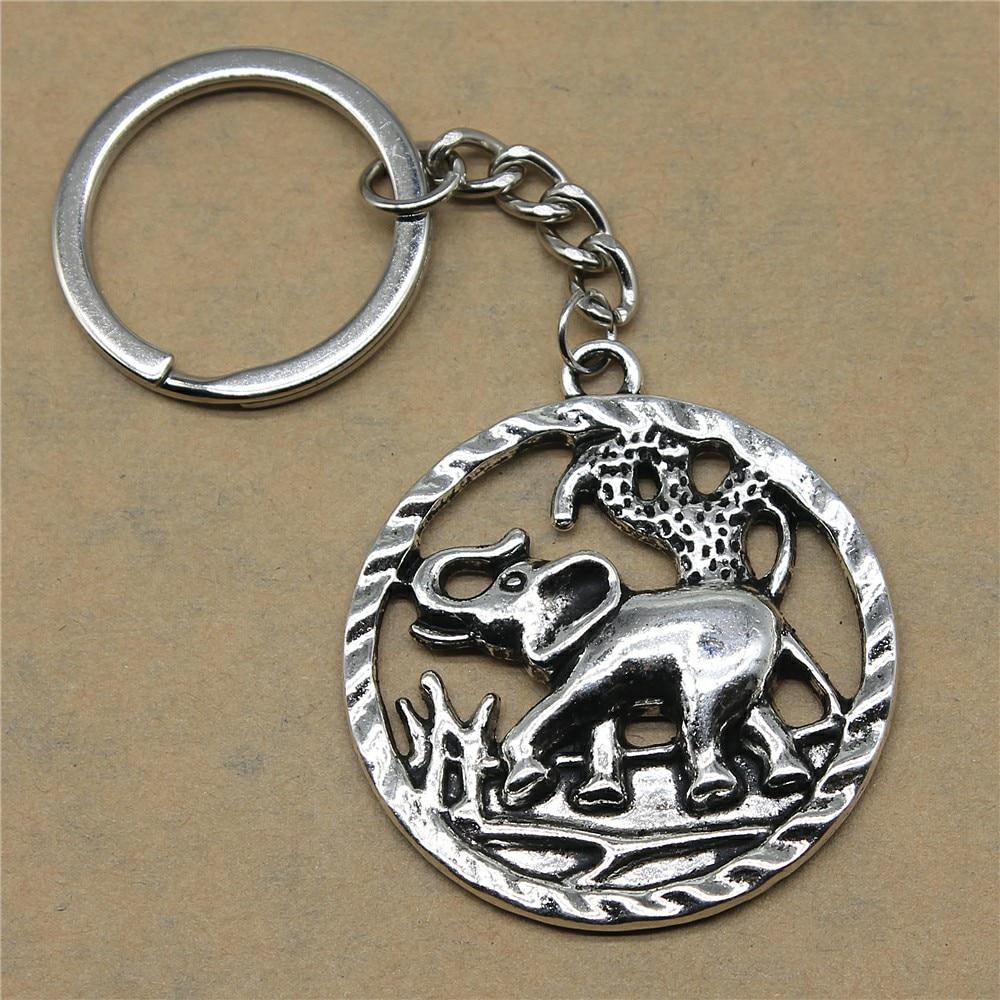 1 Stück Mann Keychain Elefanten Zubehör Schmuck Geschenke Für Kinder 44x39mm Anhänger Antike Silber