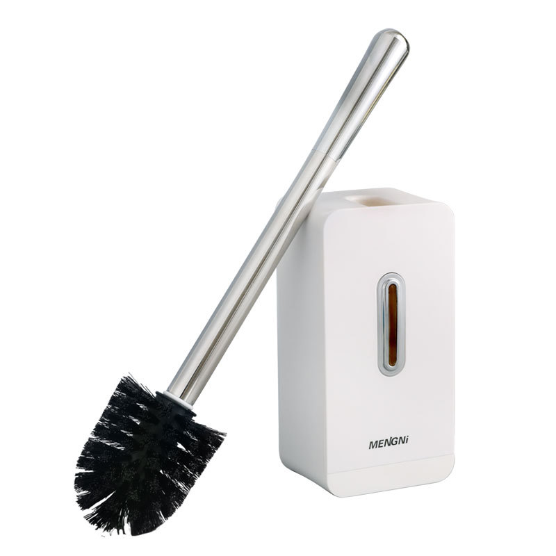 White Toilet Brush &Holder Set Stainless Steel Creative Cleaning Brush Punch-free Toilet Brush Suction Wall Bathroom Accessories