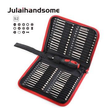 Julaihandsome 55PC Extra Lange Bits Set S2 Schraubendreher mit Magnetische 75mm Länge Werkzeug Tasche Verpackung