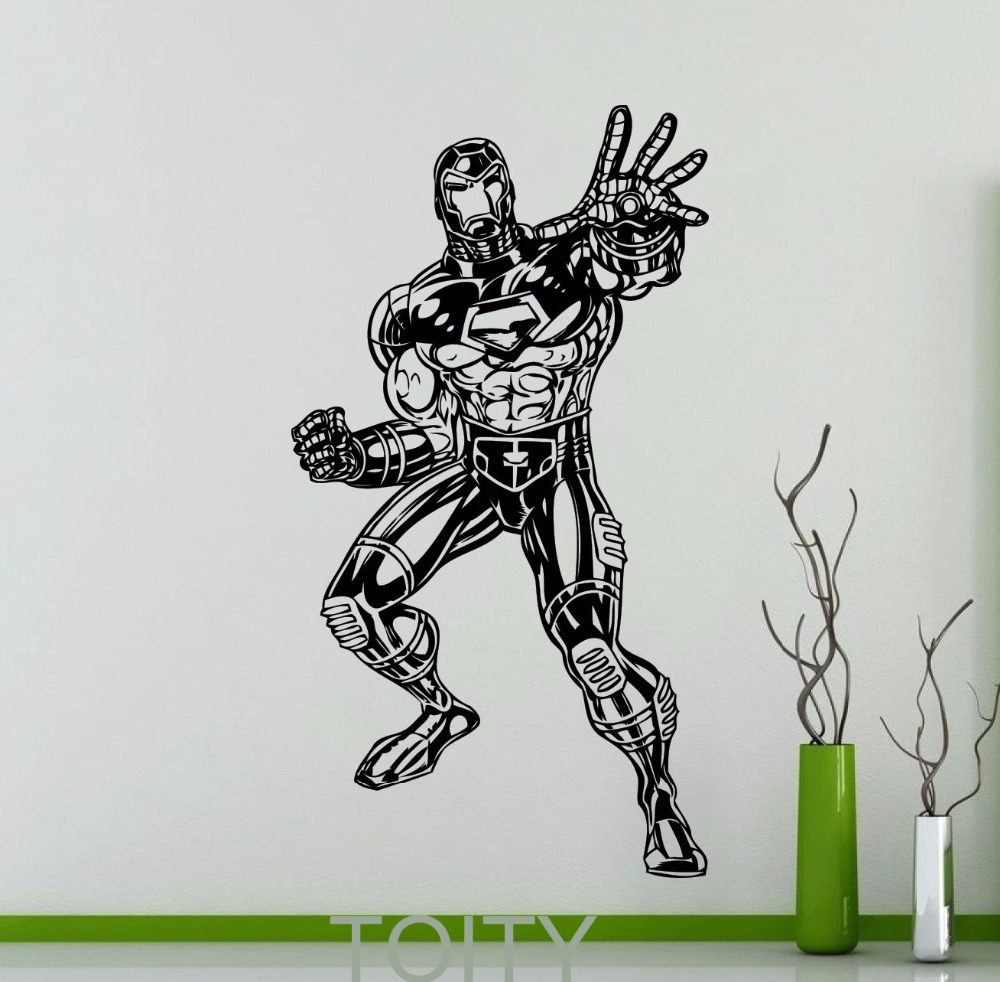 Iron man wall sticker dc marvel comics movie poster superhero iron man wall sticker dc marvel comics movie poster superhero vinyl decal home interior decoration teen cool art mural in wall stickers from home garden amipublicfo Gallery
