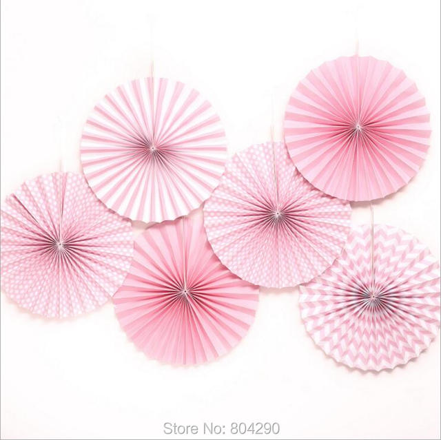 Free Shipping High Quality Blue And Pink Pinwheel Paper Fan Flowers