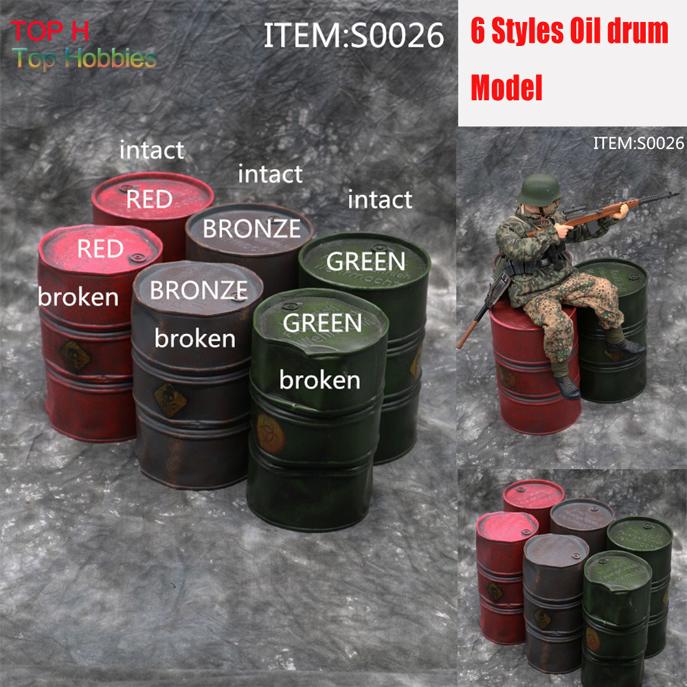 HOT FIGURE TOYS 1/6 S0026 Oil drum WWII Scene accessories 6 Styles Red/Green/Bronze Broken/Intact