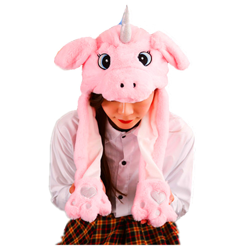 Unicorn white Cartoon Animal Plush Dynamic Hat Children's Winter Warm Cap Combined Scarf and Glove